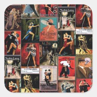 Argentine tango square sticker