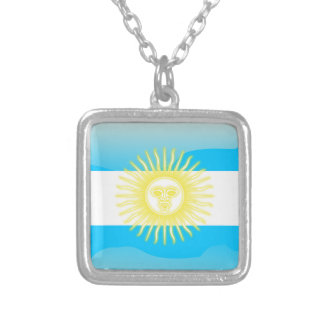 Argentinian glossy flag silver plated necklace