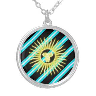 Argentinian stripes flag silver plated necklace