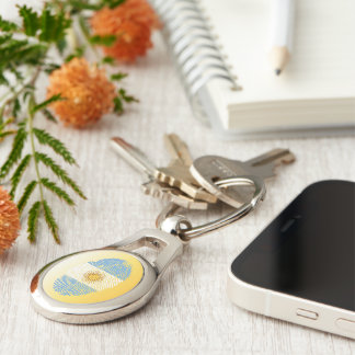Argentinian touch fingerprint flag Silver-Colored oval keychain