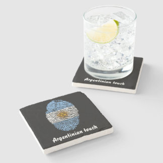 Argentinian touch fingerprint flag stone coaster