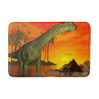 Argentinosaurus dinosaur by sunset - 3D render Bath Mat