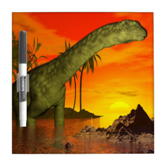 Argentinosaurus dinosaur by sunset - 3D render Dry Erase White Board