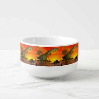 Argentinosaurus dinosaur by sunset - 3D render Soup Mug