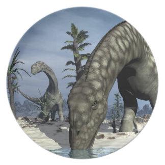 Argentinosaurus dinosaur drinking party plates