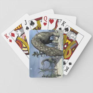 Argentinosaurus dinosaur drinking playing cards