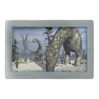 Argentinosaurus dinosaur drinking rectangular belt buckles