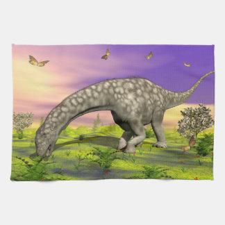 Argentinosaurus dinosaur eating - 3D render Kitchen Towel