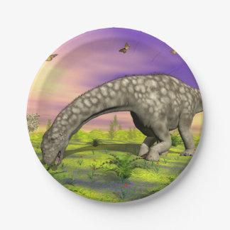 Argentinosaurus dinosaur eating - 3D render Paper Plate
