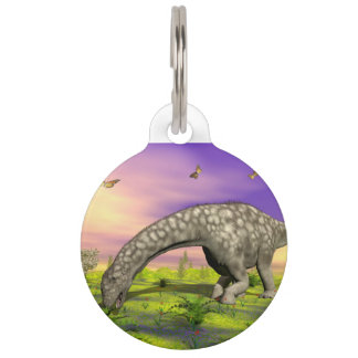 Argentinosaurus dinosaur eating - 3D render Pet Name Tags