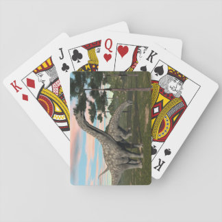 Argentinosaurus dinosaur eating tree - 3D render Playing Cards