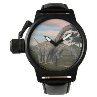 Argentinosaurus dinosaur eating tree - 3D render Wristwatches