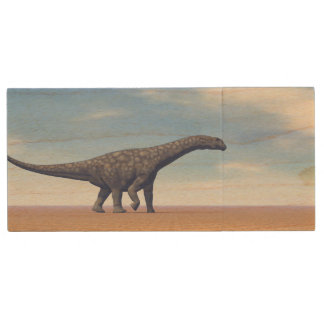 Argentinosaurus dinosaur in the desert - 3D render Wood USB Flash Drive