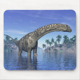 Argentinosaurus dinosaur in water next to islands mouse pad