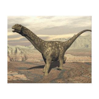 Argentinosaurus dinosaur walk - 3D render Canvas Print