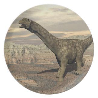 Argentinosaurus dinosaur walk - 3D render Dinner Plate