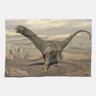 Argentinosaurus dinosaur walk - 3D render Kitchen Towel