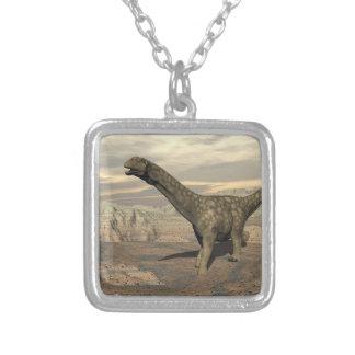 Argentinosaurus dinosaur walk - 3D render Silver Plated Necklace