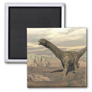Argentinosaurus dinosaur walk - 3D render Square Magnet