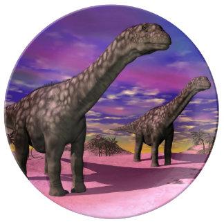 Argentinosaurus dinosaurs - 3D render Porcelain Plate