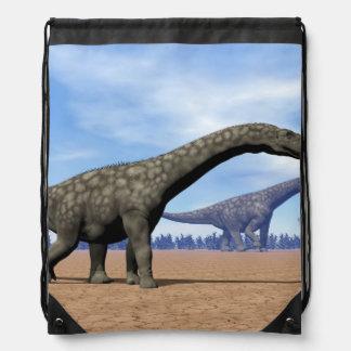 Argentinosaurus dinosaurs walk - 3D render Drawstring Bag