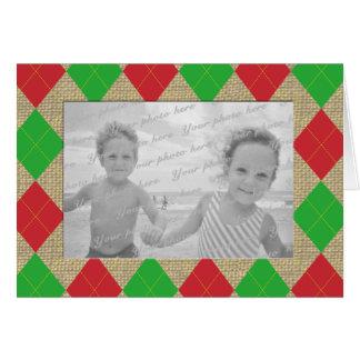 Argyle and Burlap Holiday Photo Thank You Card