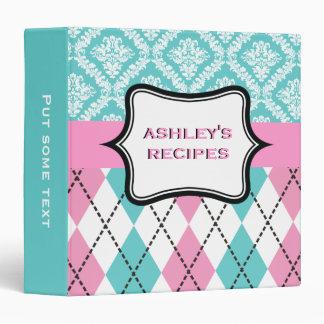 Argyle and damask pattern pink, aqua recipe vinyl binder