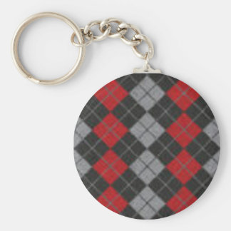 argyle basic round button keychain