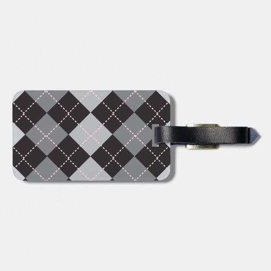 Argyle Black and Grey Bag Tag
