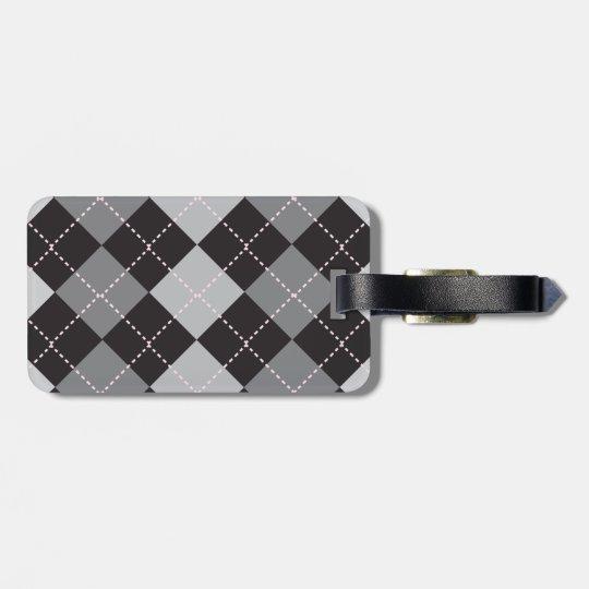 Argyle Black and Grey Luggage Tag