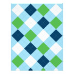 Argyle Blue Green Baby Scrapbook Paper Personalized Letterhead