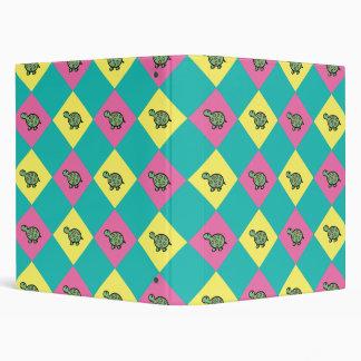 Argyle blue turtle pattern binder