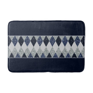 Argyle Blues Silver Shimmer Faux Glitter - All Opt Bath Mat