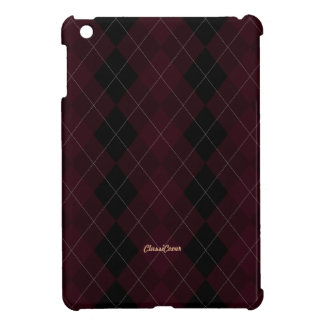 Argyle Burgundy Black Pattern iPad Mini Cover
