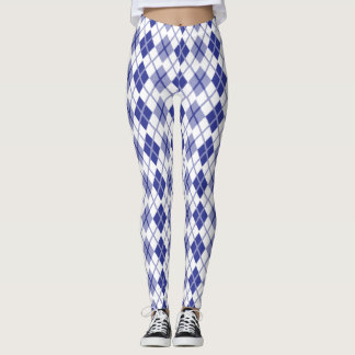 Argyle check blue leggings