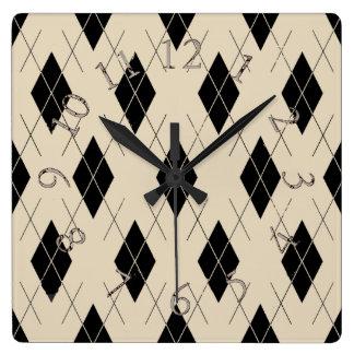 Argyle-Cream-Black-Classic--Multi-Shapes Square Wall Clock