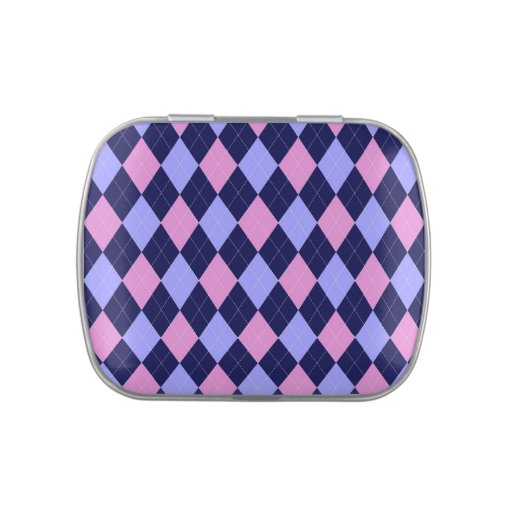 Argyle diamonds pattern in blue and pink candy tin