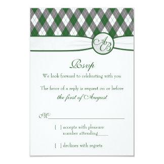 "Argyle Golfball Golf Green Monogram Wedding RSVP 3.5"" X 5"" Invitation Card"