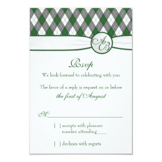 Argyle Golfball Golf Green Monogram Wedding RSVP Card