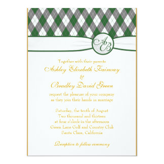 "Argyle Golfball Golfing Green Monogram Wedding 6.5"" X 8.75"" Invitation Card"