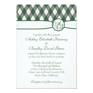 Argyle Golfball Golfing Green Monogram Wedding Card