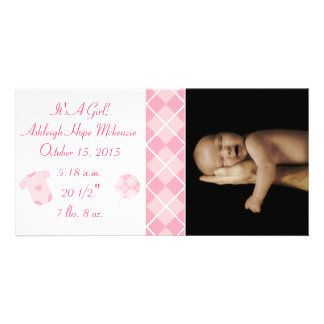 Argyle - It's A Girl... Our Precious Little Pearl Personalized Photo Card