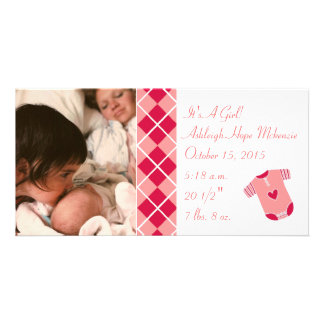 Argyle - It's A Girl... Our Precious Little Pearl Photo Greeting Card