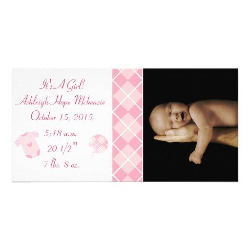 Argyle - It's A Girl... Our Precious Little Pearl Custom Photo Card