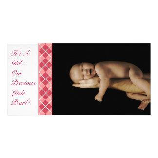 Argyle - It's A Girl... Our Precious Little Pearl Customized Photo Card