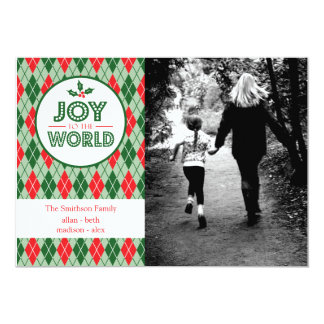 Argyle Joy To The World Christmas Picture (Holly) Card
