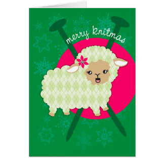 Argyle lamb sheet knitting needles Christmas card