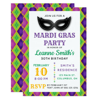 Argyle Mardi Gras Party Invitation