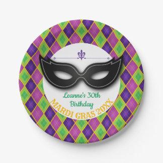 Argyle Mardi Gras Party Paper Plate