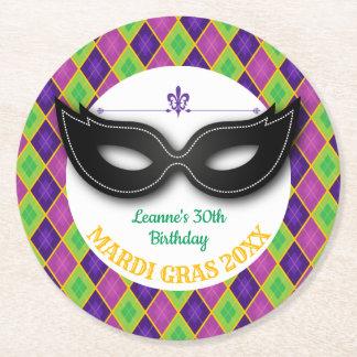 Argyle Mardi Gras Party Round Paper Coaster